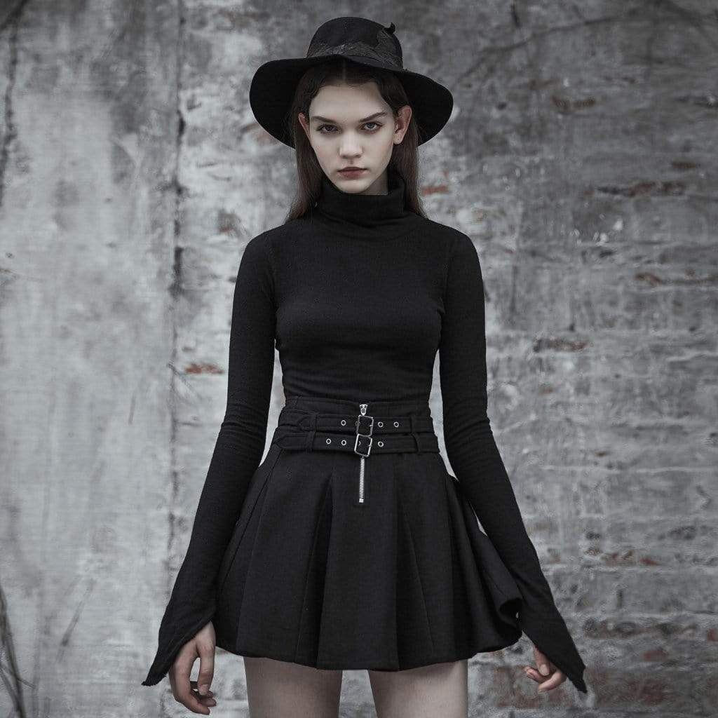 Women's Goth Turtleneck Slim Fitted Irregular Kitted Tops - Black Rabbit Store