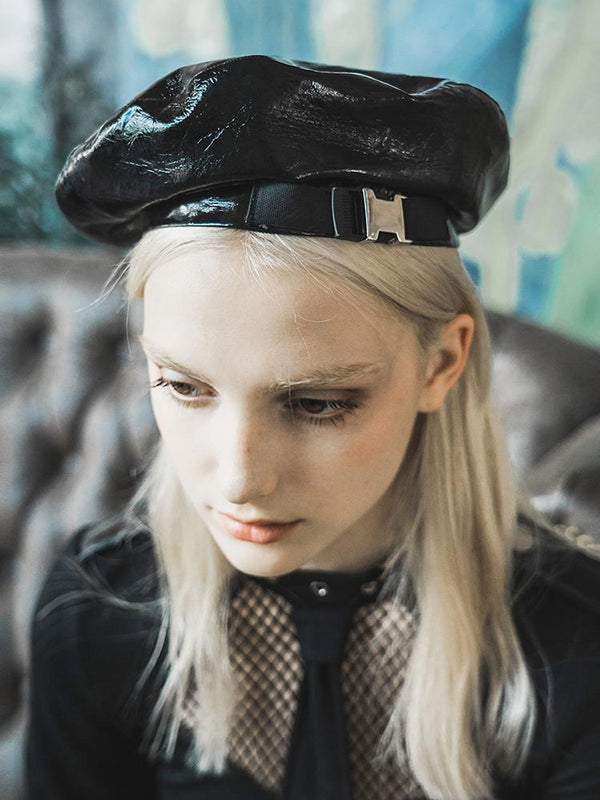 Women's Gothic Faux Leather Berets - Black Rabbit Store