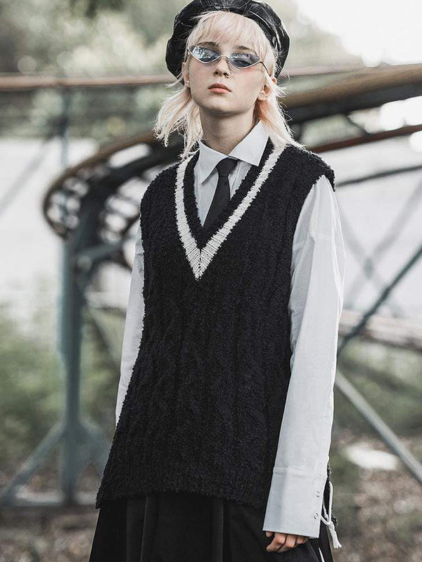 Women's Grunge Lace-up V-neck Sweater Vests - Black Rabbit Store