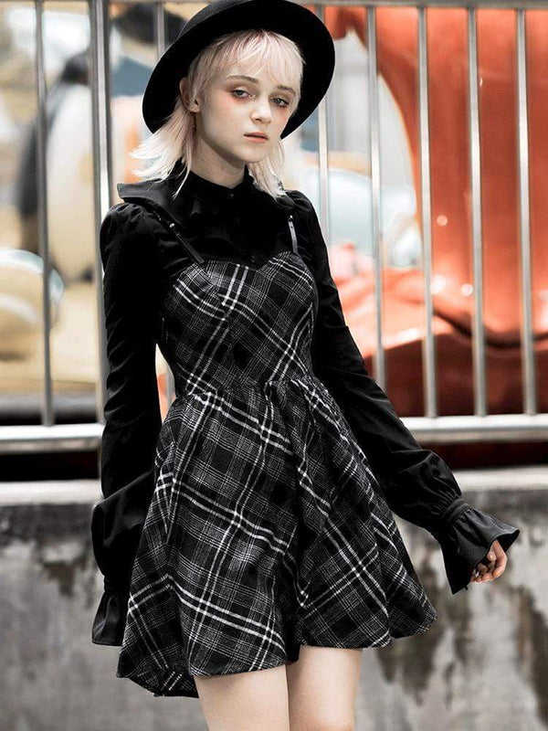 Women's Grunge Plaid Slip Dress - Black Rabbit Store
