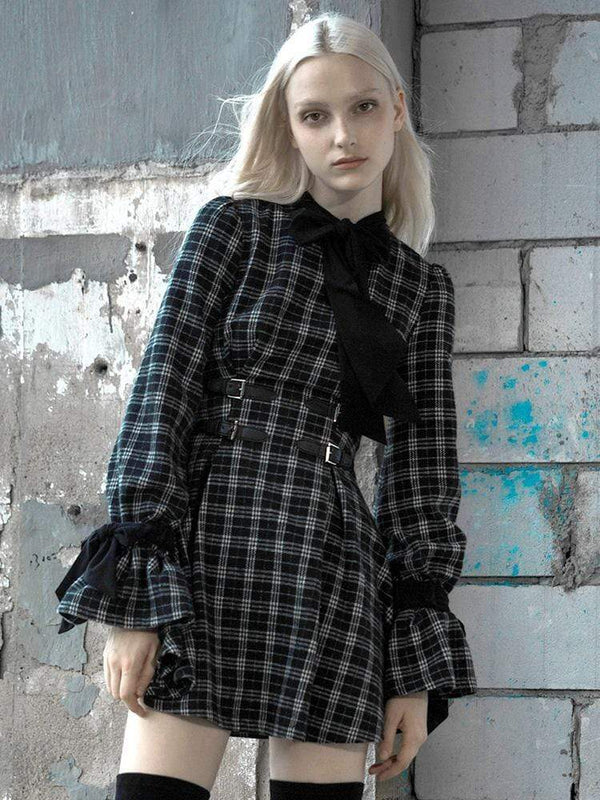 Women's Grunge Puff Long Sleeved Slim Fitted Plaid Dress - Black Rabbit Store