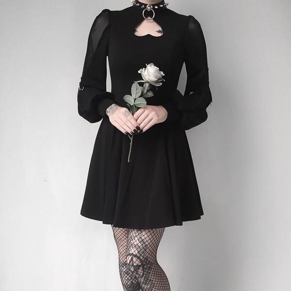 Women's Heart Peekaboo Punk Dress - Black Rabbit Store