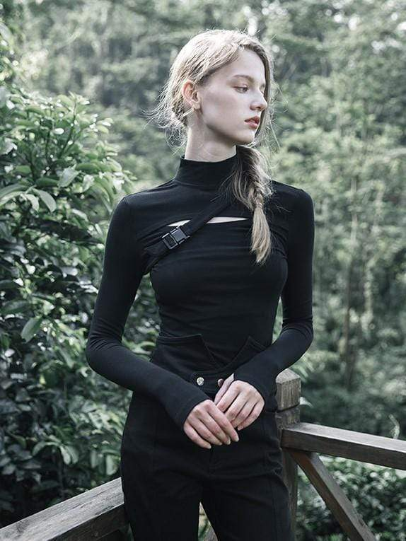 Women's High Neck Long Sleeved Hollow Out T-shits With Fastener - Black Rabbit Store