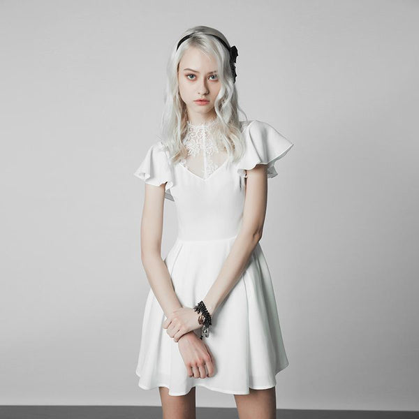 Women's Lace Inset Punk Dress - Black Rabbit Store