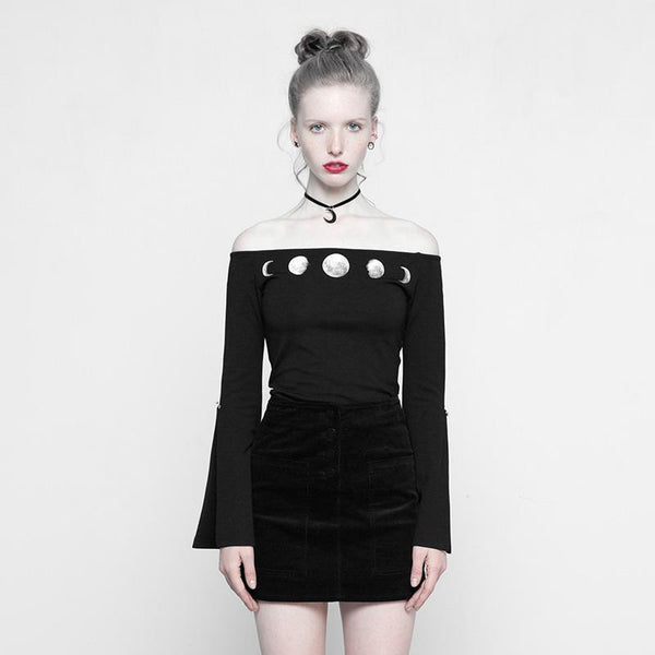 Women's Moon Phase Short Punk Top - Black Rabbit Store