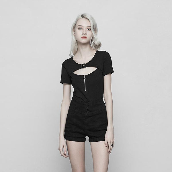 Women's Peek-A-Boo Round Neck Punk Top - Black Rabbit Store