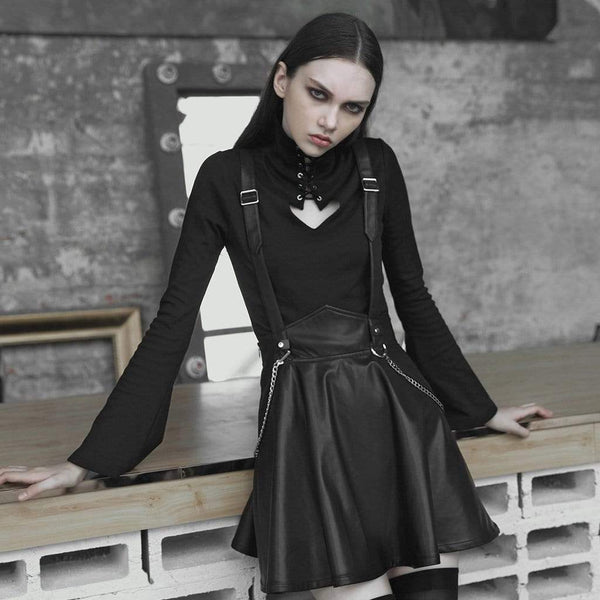 Women's Punk Faux Leather A-Line Suspender Skirt With Metal Chain - Black Rabbit Store