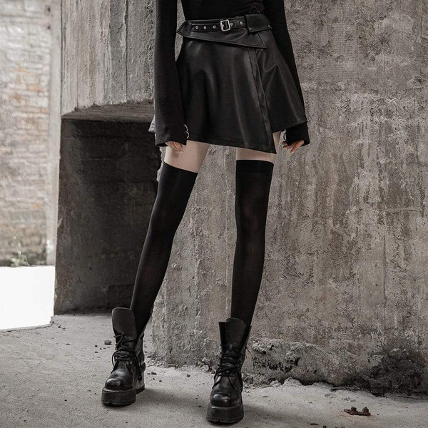 Women's Punk Faux Leather Irregular Skirt With Waist Belt - Black Rabbit Store