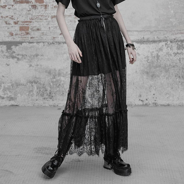 Women's Punk Frilled Lace Skirt - Black Rabbit Store