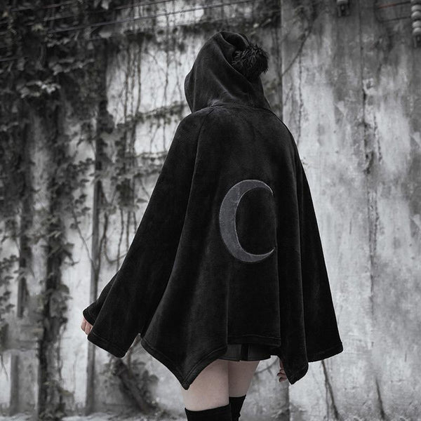 Women's Punk Fur Hooded Moon Irregular Cape Coat Punk Moon Cape - Black Rabbit Store
