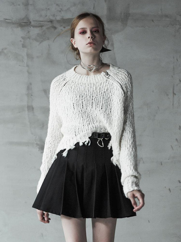 Women's Punk High/Low Side Zipper Hollow Sweater - Black Rabbit Store