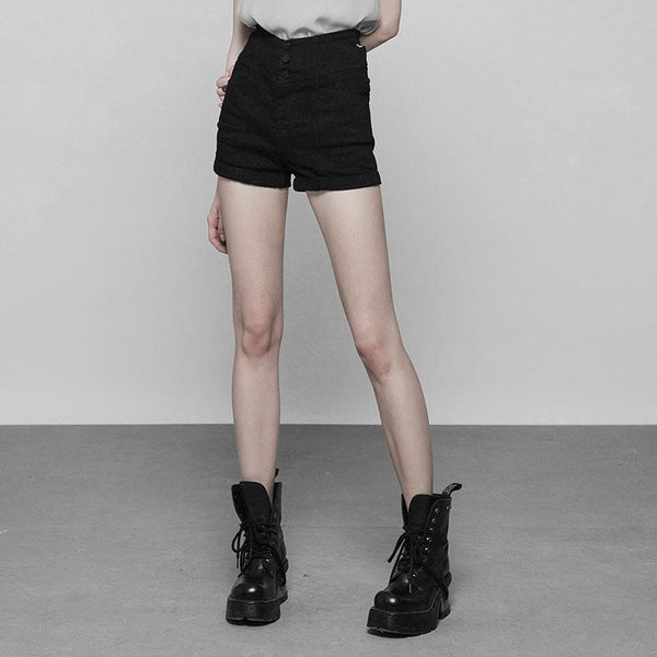 Women's Punk High Waist Cuffed Shorts - Black Rabbit Store