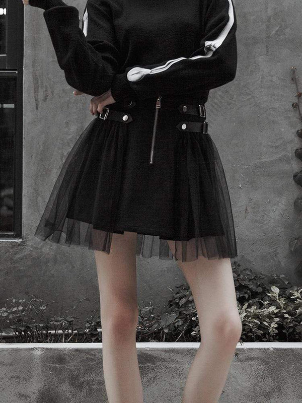 Women's Punk High-Waisted Black Skirt With Yarn Ruffles - Black Rabbit Store