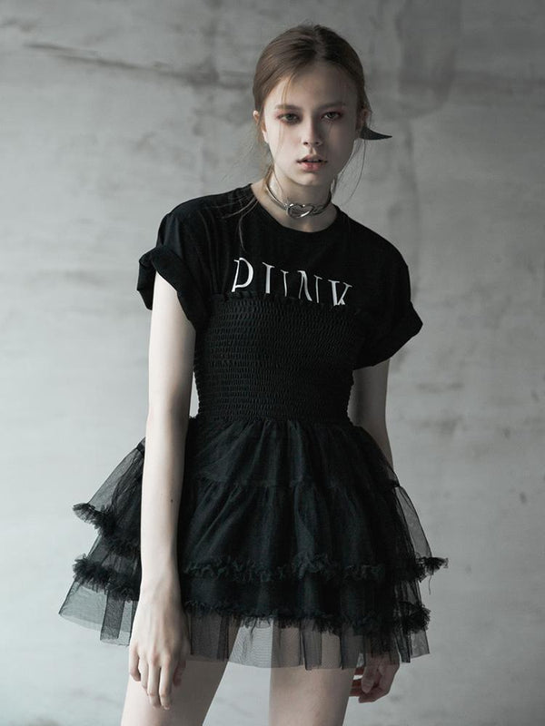 Women's Punk High-Waisted Multilayer Lace A-Type Skirt - Black Rabbit Store
