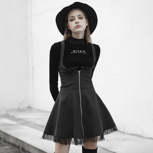 Women's Punk High-waisted Slim Fitted Lace-trim Circle Strap Dress - Black Rabbit Store