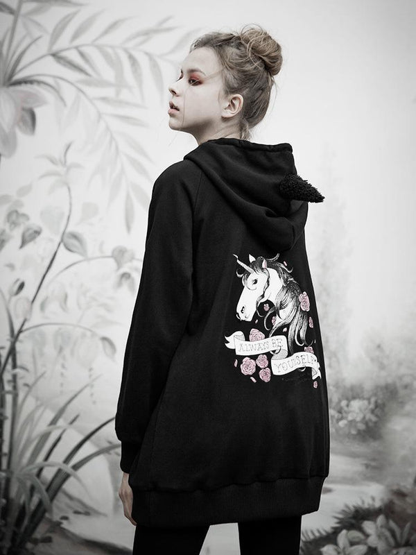 Women's Punk Horse Printed Long Hoodies With Hair Bulbs - Black Rabbit Store