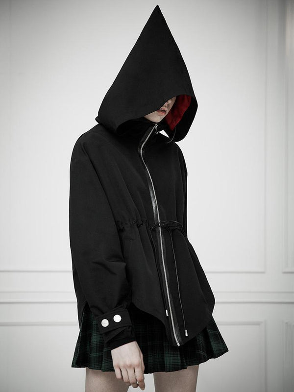 Women's Punk Irregular Drawstring Strappy Witch Hooded Wind Coat With Pocket - Black Rabbit Store