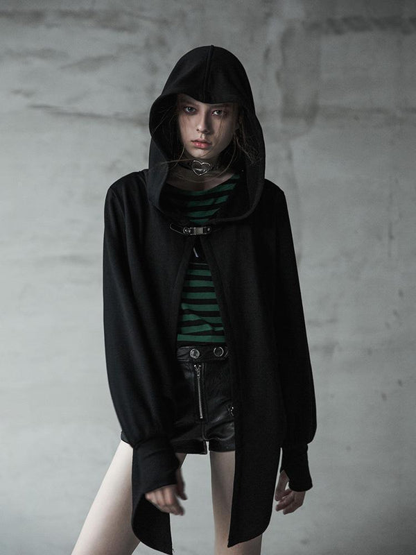 Women's Punk Irregular Long Sleeves Hooded Coat Black - Black Rabbit Store
