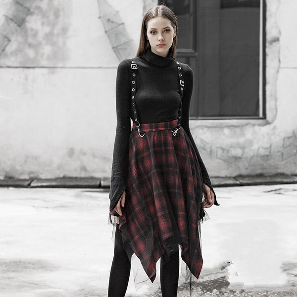 Women's Punk Irregular Red Plaid Mesh Skirts With Suspenders - Black Rabbit Store