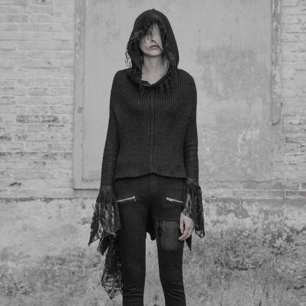 Women's Punk Lace Fringed Cardigan - Black Rabbit Store