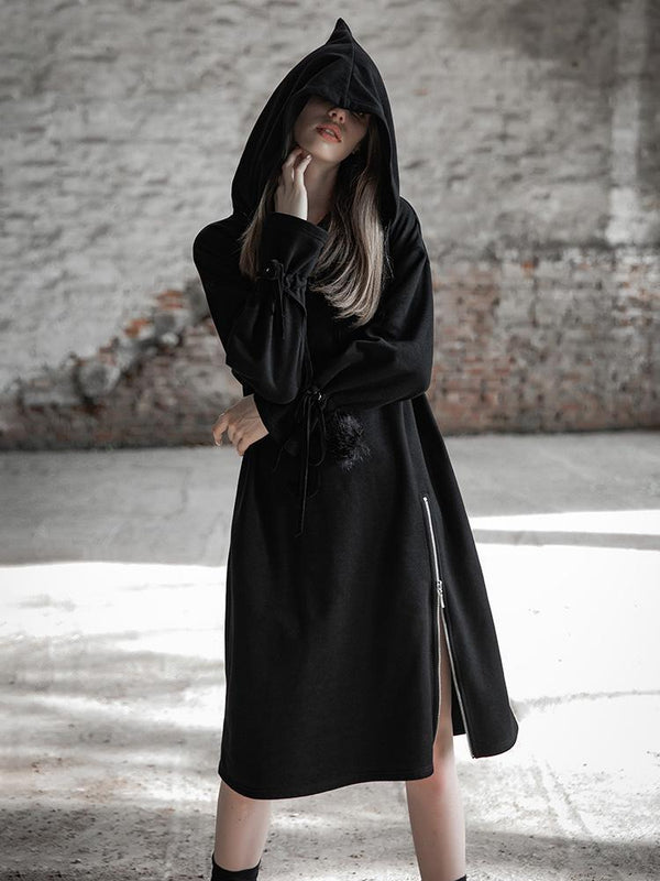 Women's Punk Lace-Up Long-Sleeve Zipper Hooded Coat - Black Rabbit Store