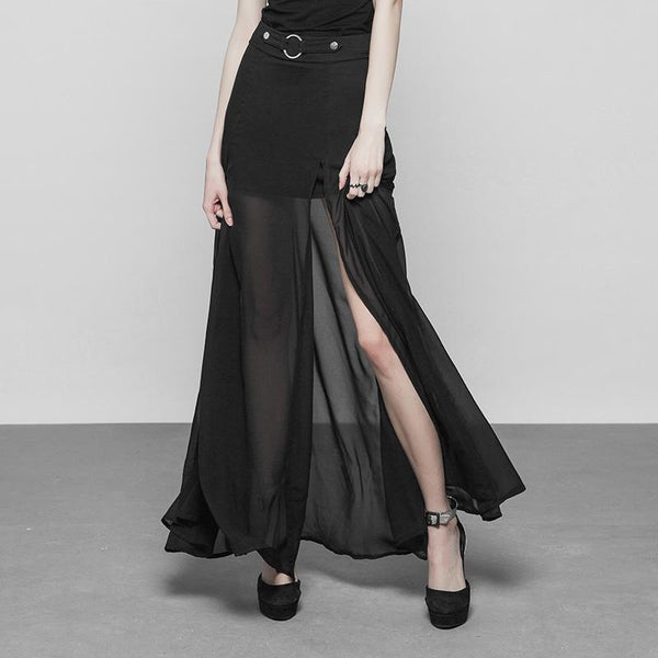 Women's Punk Long Translucent Skirt - Black Rabbit Store