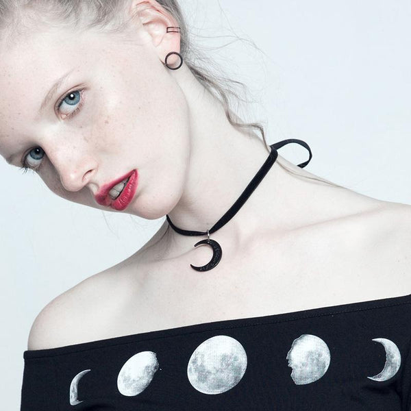 Women's Punk Moon Necklace Choker - Black Rabbit Store