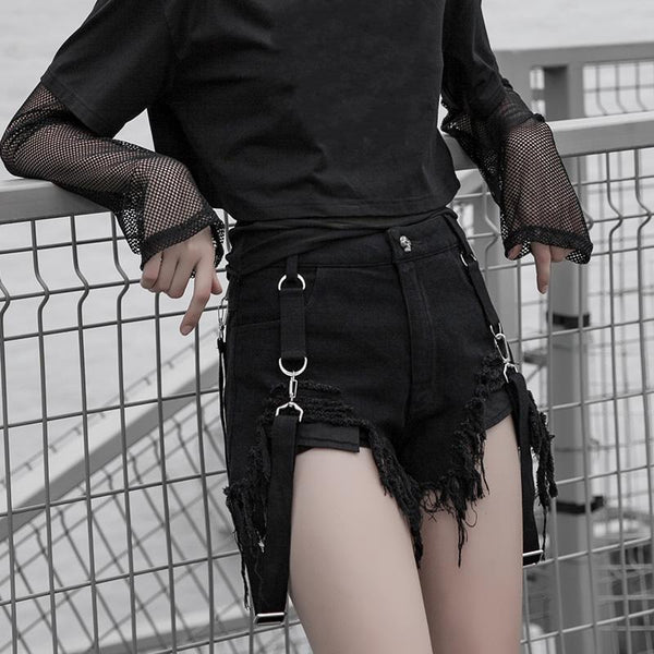 Women's Punk Ripped Denim Shorts With Suspender - Black Rabbit Store