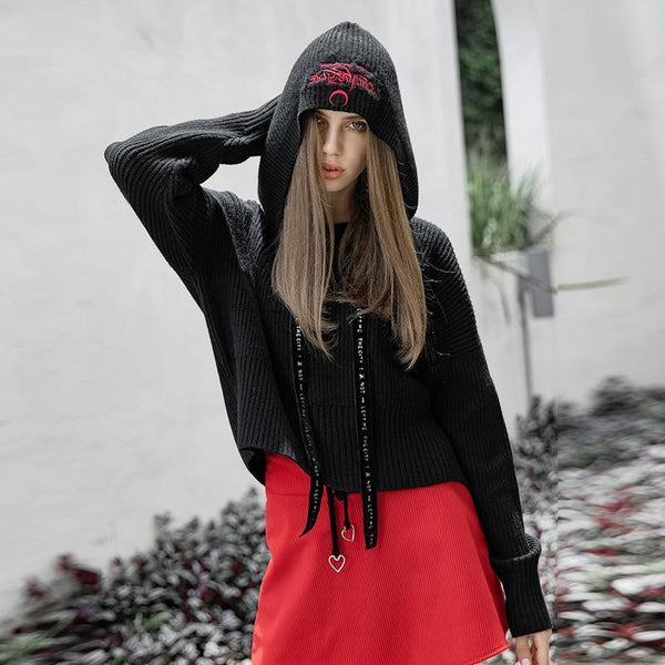 Women's Punk Strappy Long-sleeved Hooded Knitted Sweater - Black Rabbit Store
