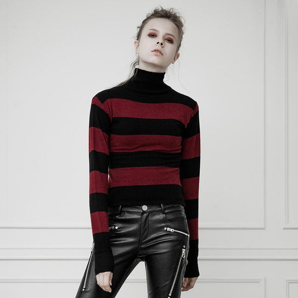 Women's Punk Stripe Printed High Collar Sweater - Black Rabbit Store