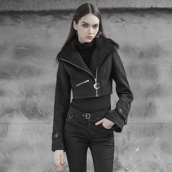 Women's Punk Toned Horn Sleeved Short Jacket With Fur Collar - Black Rabbit Store