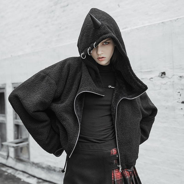 Women's Punk Unicorn Deco Thicken Warm Winter Coat - Black Rabbit Store