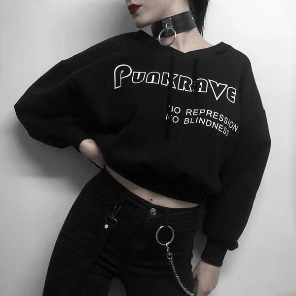 Women's Punk V-neck No Repression Printed Sweater - Black Rabbit Store