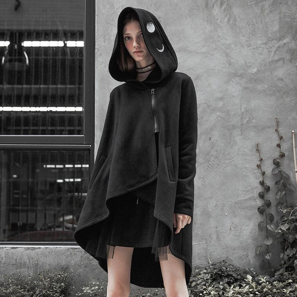 Women's Punk Zipper Irregular Hooded Cape Coat With Pocket - Black Rabbit Store