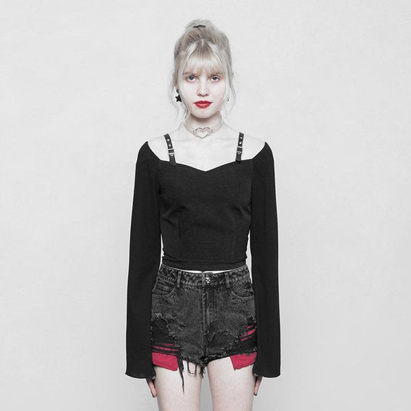 Women's Short Bell Sleeved Punk Top - Black Rabbit Store