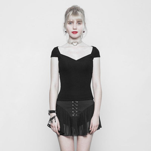 Women's Short Fitted Punk Top - Black Rabbit Store