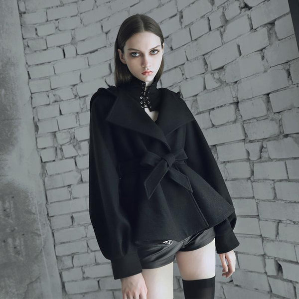 Women's Turn-down Collar Belt A-line Hooded Coat - Black Rabbit Store