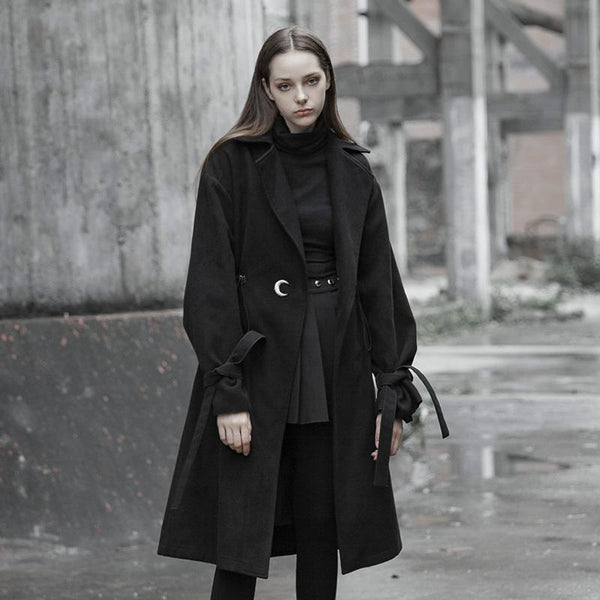 Women's Turn-down Collar Lace-up Long Trench Coat - Black Rabbit Store
