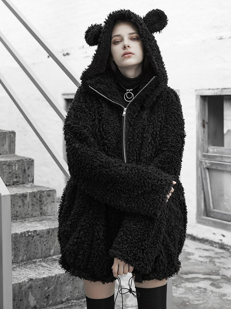 Women's Warm Winter Big Ears Hooded Coat Overcoat - Black Rabbit Store