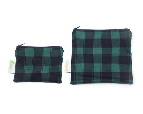 Green Plaid Reusable Snack Bag Set