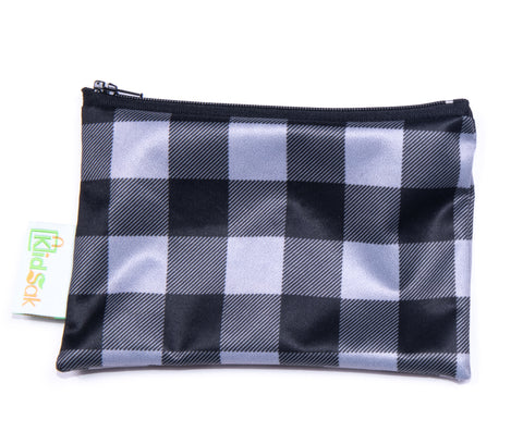 Grey Plaid Reusable Snack Bag