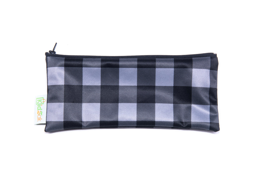 Grey Plaid Reusable Snack Bag - Wide