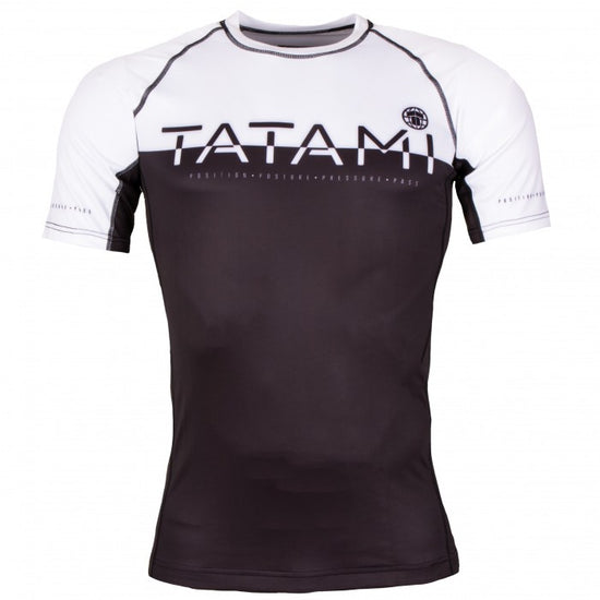 TATAMI 50/50 RASHGUARD SHORT SLEEVE - BLACK AND WHITE