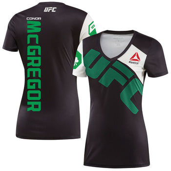 Reebok Womens Conor McGregor Black/Green UFC Jersey
