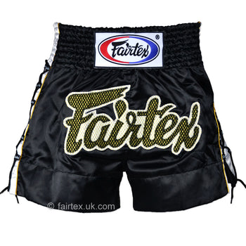 Fairtex Black Laced Sides Muaythai Shorts