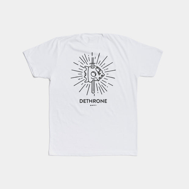 Dethrone Knife Skull Tee White