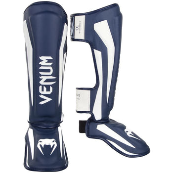 VENUM ELITE STANDUP SHIN GUARDS - WHITE/NAVY BLUE