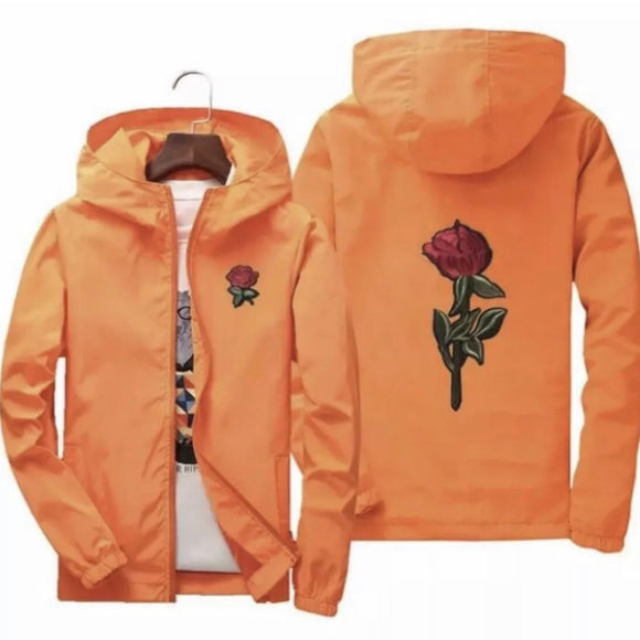 Rose detail windbreaker - Orange