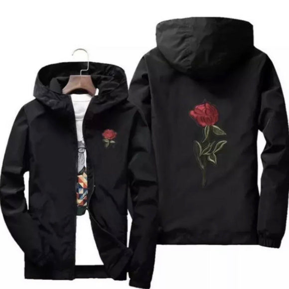 Rose detail windbreaker - black