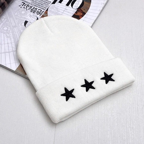 Triple star beanie - White